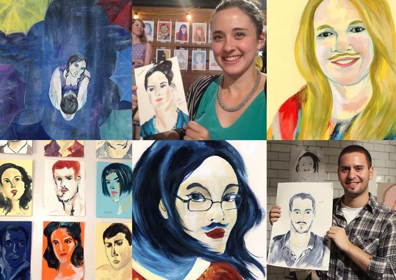 Top row: Art vs Cancer, hellohead portrait, movember portrait.Bottom row: 15min portraits, movember self portrait, portrait I done for Movember launch
