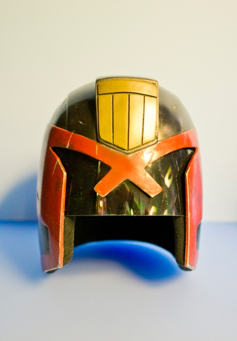 Judge Dredd's helmet, loaned by DNA Films - producers of 'Dredd'. Photography (c) Tony Antoniou
