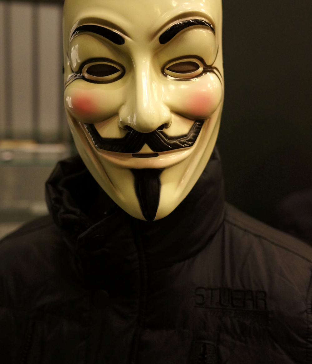 V for Vendetta mask on a manequin in Comics Unmasked. Photography (c) Tony Antoniou