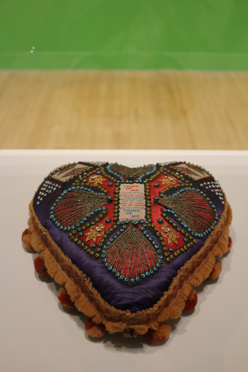 """""""Think of Me"""" pincushion, Fabric, beads and thread"""