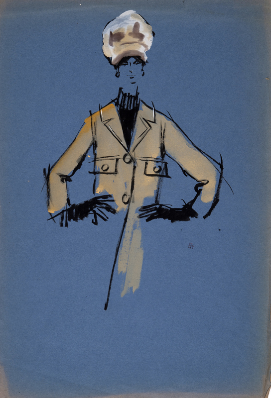 Eva Aldbrook (1925 - ) Dior Model I Original Fashion Illustration of Dior Model Christine Tidmarsh 1956