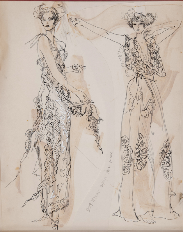 Angela Landels (1935 - ) Zandra Rhodes - Jubilee II Original Fashion Illustration Commissioned for Harpers & Queen C1972, Pencil & Wash