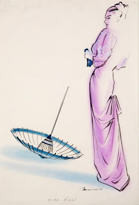 Maynard ( - ) Original Fashion Illustration for Nina Ricci 1946, Ink & Watercolour