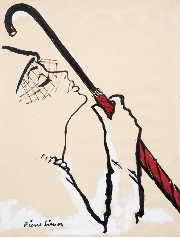 Pierre Simon (1907 - 1999) Original Advertising Fashion Illustration Woman with Umbrella 1950, Ink & Gouache