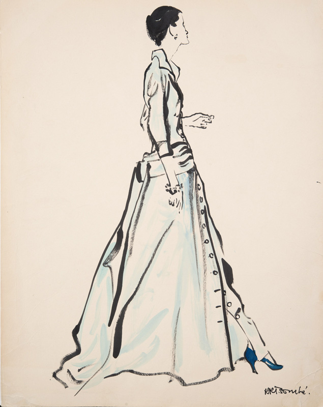 René Bouché (1905 - 1963) Original Fashion Illustration for Caudbeard & American Vogue 1950, Ink & Watercolour