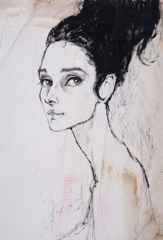 Barbara Hulanicki (1936 - ) Original Fashion Sketch Audrey Hepburn II C1960's