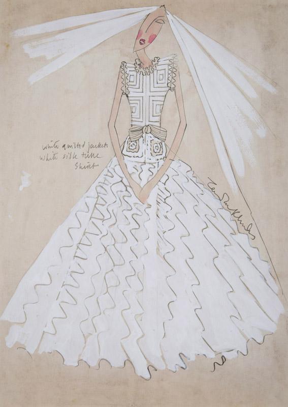 Zandra Rhodes (1940 - ) Original Wedding Dress Design Zandra Rhodes III C1972, Pencil & Watercolour
