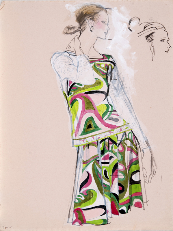 Brian Stonehouse M.B.E. (1918 - 1998) Original Working Fashion Illustration for US Magazine Pucci C1970's, Mixed Media