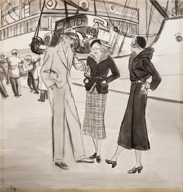 Carl Erickson (Eric) (1891 - 1958) Awaiting To Embark Original Project for American Vogue C1940's, Ink & Wash