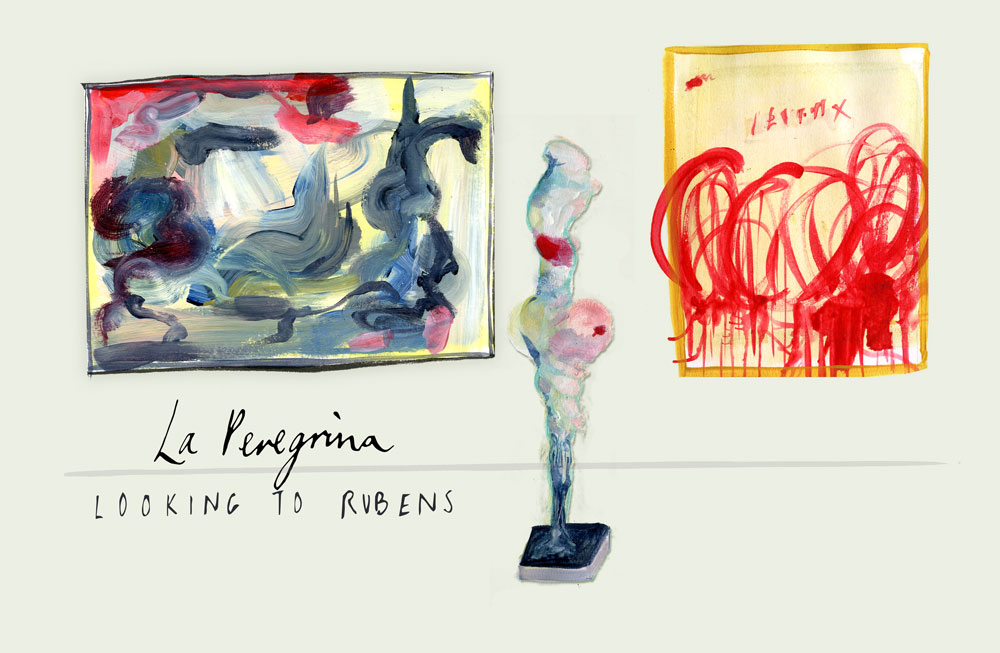 June-Sees-illustrated-exhibition-review-of-La-Peregrina-Looking-to-Rubens-a-tthe-Royal-Academy illustration of cy twombly rebecca warren de kooning