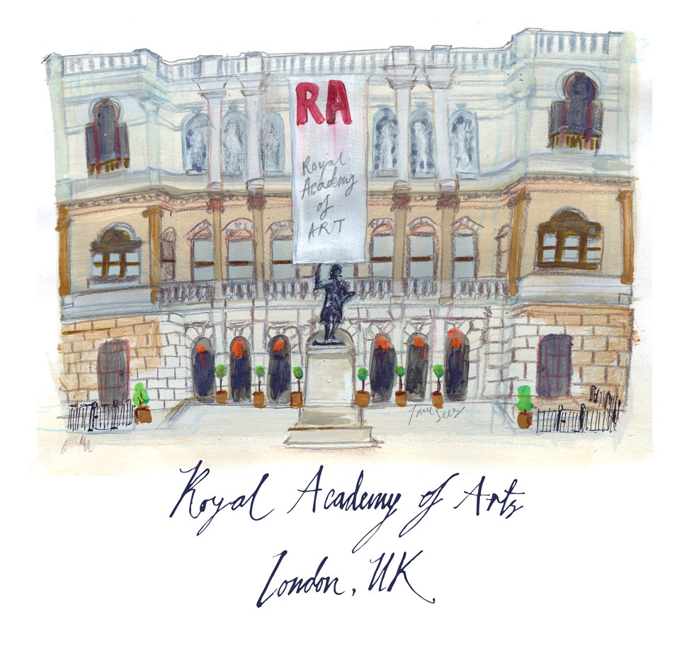 June-Sees-illustration painted and handwriting -of-Royal-academy-of-arts-in-london-UK