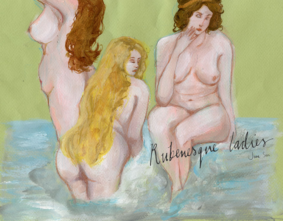 June-Sees-illustration-painted of-rubenesque-naked curvy ladies
