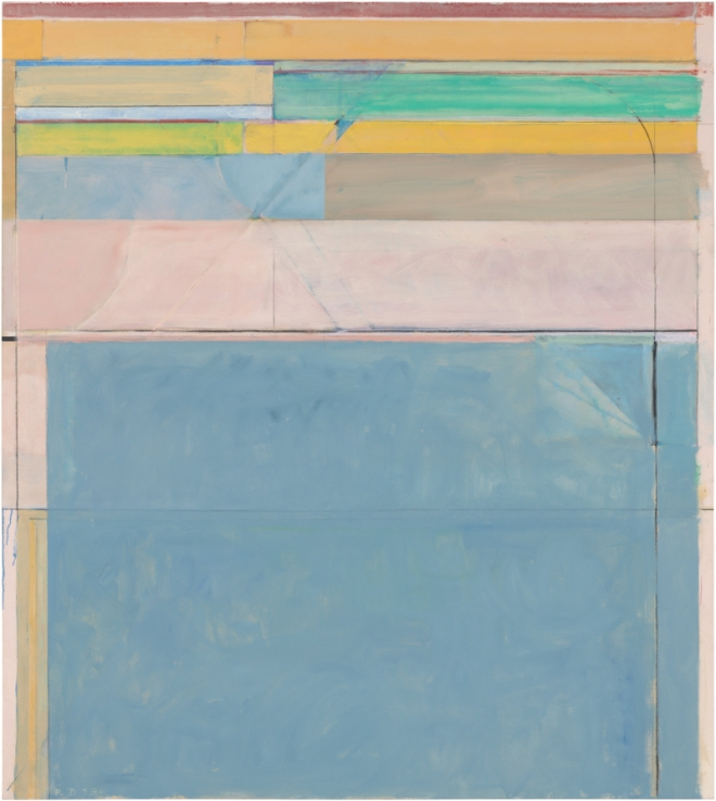 Richard Diebenkorn Ocean Park #116, 1979 Oil and charcoal on canvas 208.3 x 182.9 cm Fine Arts Museums of San Francisco, museum purchase, gift of Mrs. Paul L. Wattis Copyright 2014 The Richard Diebenkorn Foundation