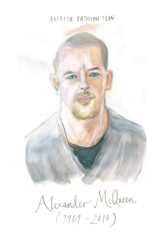 Portrait of Alexander Mc Queen (1969 - 2010) British Fashion Icon by June Sees Illustrator