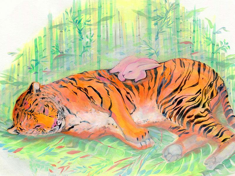 Sleeping-Friends-_Tiger-and-Rabbit_closeup-web